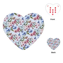 Watercolor Flowers Butterflies Pattern Blue Red Playing Cards (heart)  by EDDArt