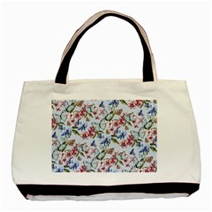 Watercolor Flowers Butterflies Pattern Blue Red Basic Tote Bag by EDDArt