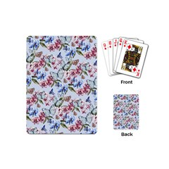 Watercolor Flowers Butterflies Pattern Blue Red Playing Cards (mini)  by EDDArt