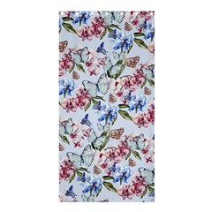 Watercolor Flowers Butterflies Pattern Blue Red Shower Curtain 36  X 72  (stall)  by EDDArt