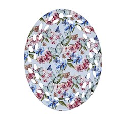 Watercolor Flowers Butterflies Pattern Blue Red Oval Filigree Ornament (two Sides) by EDDArt