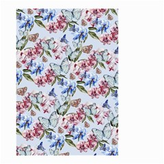 Watercolor Flowers Butterflies Pattern Blue Red Small Garden Flag (two Sides) by EDDArt