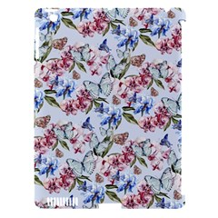 Watercolor Flowers Butterflies Pattern Blue Red Apple Ipad 3/4 Hardshell Case (compatible With Smart Cover) by EDDArt