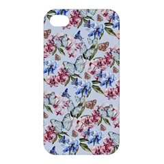 Watercolor Flowers Butterflies Pattern Blue Red Apple Iphone 4/4s Premium Hardshell Case by EDDArt