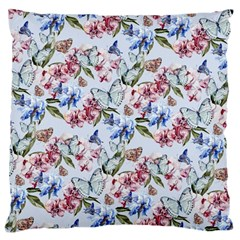 Watercolor Flowers Butterflies Pattern Blue Red Large Cushion Case (two Sides) by EDDArt