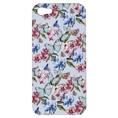 Watercolor Flowers Butterflies Pattern Blue Red Apple Iphone 5 Hardshell Case by EDDArt