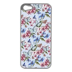 Watercolor Flowers Butterflies Pattern Blue Red Apple Iphone 5 Case (silver) by EDDArt