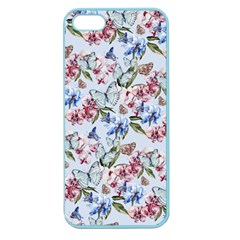 Watercolor Flowers Butterflies Pattern Blue Red Apple Seamless Iphone 5 Case (color) by EDDArt