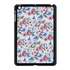 Watercolor Flowers Butterflies Pattern Blue Red Apple Ipad Mini Case (black) by EDDArt