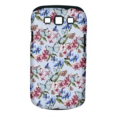 Watercolor Flowers Butterflies Pattern Blue Red Samsung Galaxy S Iii Classic Hardshell Case (pc+silicone) by EDDArt