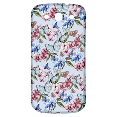 Watercolor Flowers Butterflies Pattern Blue Red Samsung Galaxy S3 S Iii Classic Hardshell Back Case by EDDArt