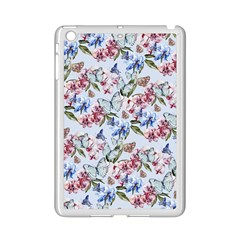 Watercolor Flowers Butterflies Pattern Blue Red Ipad Mini 2 Enamel Coated Cases by EDDArt