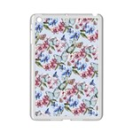 Watercolor Flowers Butterflies Pattern Blue Red iPad Mini 2 Enamel Coated Cases Front