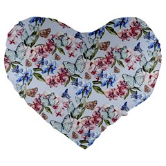 Watercolor Flowers Butterflies Pattern Blue Red Large 19  Premium Heart Shape Cushions by EDDArt
