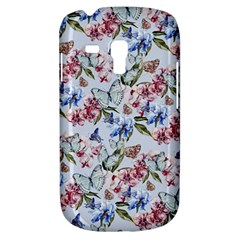 Watercolor Flowers Butterflies Pattern Blue Red Galaxy S3 Mini by EDDArt
