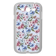 Watercolor Flowers Butterflies Pattern Blue Red Samsung Galaxy Grand Duos I9082 Case (white) by EDDArt