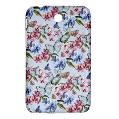 Watercolor Flowers Butterflies Pattern Blue Red Samsung Galaxy Tab 3 (7 ) P3200 Hardshell Case  by EDDArt