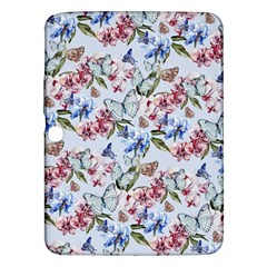 Watercolor Flowers Butterflies Pattern Blue Red Samsung Galaxy Tab 3 (10 1 ) P5200 Hardshell Case  by EDDArt