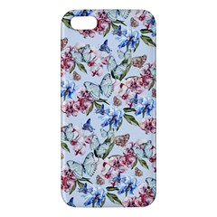 Watercolor Flowers Butterflies Pattern Blue Red Iphone 5s/ Se Premium Hardshell Case by EDDArt