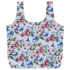 Watercolor Flowers Butterflies Pattern Blue Red Full Print Recycle Bags (l)  by EDDArt