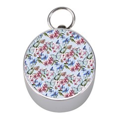 Watercolor Flowers Butterflies Pattern Blue Red Mini Silver Compasses by EDDArt