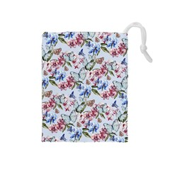 Watercolor Flowers Butterflies Pattern Blue Red Drawstring Pouches (medium)  by EDDArt