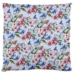 Watercolor Flowers Butterflies Pattern Blue Red Large Flano Cushion Case (one Side)