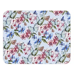 Watercolor Flowers Butterflies Pattern Blue Red Double Sided Flano Blanket (large)  by EDDArt