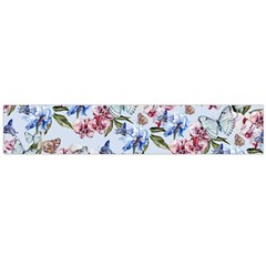 Watercolor Flowers Butterflies Pattern Blue Red Flano Scarf (large) by EDDArt