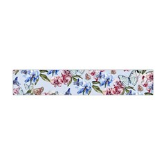 Watercolor Flowers Butterflies Pattern Blue Red Flano Scarf (mini) by EDDArt