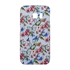Watercolor Flowers Butterflies Pattern Blue Red Galaxy S6 Edge by EDDArt