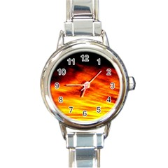 Black Yellow Red Sunset Round Italian Charm Watch by Costasonlineshop