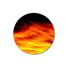 Black Yellow Red Sunset Magnet 3  (round) by Costasonlineshop