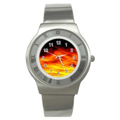 Black Yellow Red Sunset Stainless Steel Watch by Costasonlineshop
