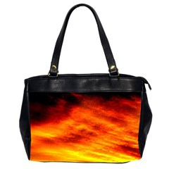 Black Yellow Red Sunset Office Handbags (2 Sides)  by Costasonlineshop