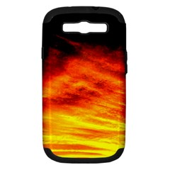 Black Yellow Red Sunset Samsung Galaxy S Iii Hardshell Case (pc+silicone) by Costasonlineshop