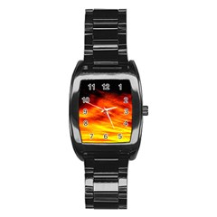 Black Yellow Red Sunset Stainless Steel Barrel Watch by Costasonlineshop