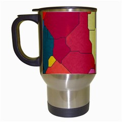 Colorful Leather Pieces             Travel Mug (white) by LalyLauraFLM
