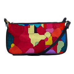 Colorful Leather Pieces             Shoulder Clutch Bag by LalyLauraFLM