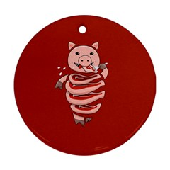Red Stupid Self Eating Gluttonous Pig Ornament (round) by CreaturesStore