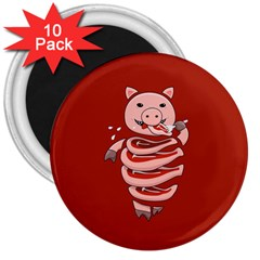 Red Stupid Self Eating Gluttonous Pig 3  Magnets (10 Pack)  by CreaturesStore