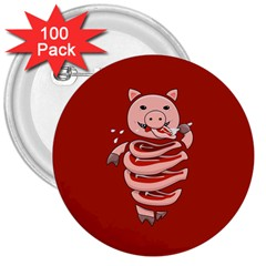 Red Stupid Self Eating Gluttonous Pig 3  Buttons (100 Pack)  by CreaturesStore