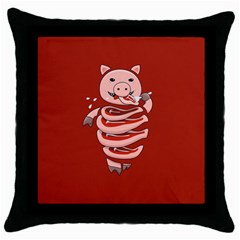 Red Stupid Self Eating Gluttonous Pig Throw Pillow Case (black) by CreaturesStore