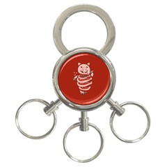 Red Stupid Self Eating Gluttonous Pig 3 Ring Key Chains by CreaturesStore