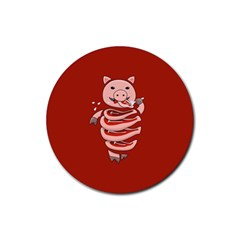 Red Stupid Self Eating Gluttonous Pig Rubber Round Coaster (4 Pack)  by CreaturesStore