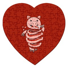 Red Stupid Self Eating Gluttonous Pig Jigsaw Puzzle (heart) by CreaturesStore
