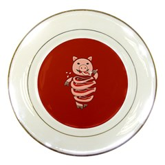 Red Stupid Self Eating Gluttonous Pig Porcelain Plates