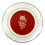 Red Stupid Self Eating Gluttonous Pig Porcelain Plates Front