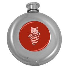 Red Stupid Self Eating Gluttonous Pig Round Hip Flask (5 Oz) by CreaturesStore