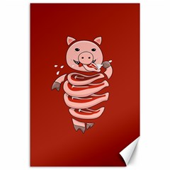 Red Stupid Self Eating Gluttonous Pig Canvas 24  X 36  by CreaturesStore